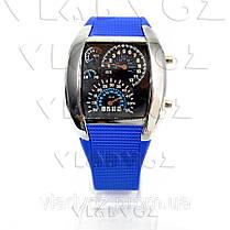 Бинарные LED часы Спидометр металик синий браслет, фото 3
