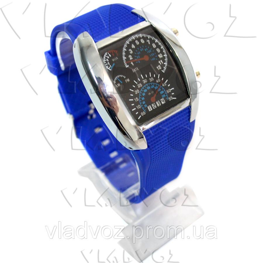 Бинарные LED часы Спидометр металик синий браслет