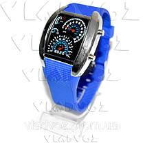 Бинарные LED часы Спидометр металик синий браслет, фото 2