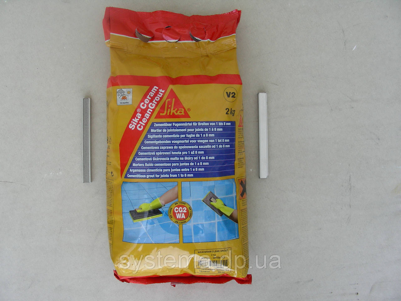 Sika®Ceram CleanGrout - затирка для швов в плитке, серый, 2 кг