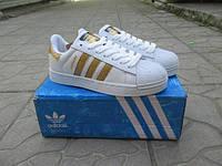 Подростковые кроссовки Adidas SuperStar белые с золотым кожа