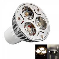 Светодиодная лампа MR16 3W 3 LED 270 люмен 3200K теплый белый 12В