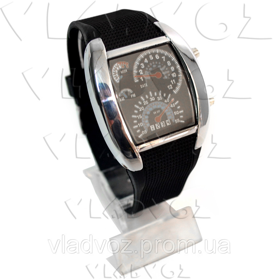 Бинарные LED часы Спидометр металик
