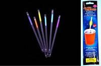 Светящиеся неоновые трубочки для сока,коктейля -  6 шт. в уп.