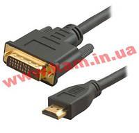 Кабель HDMI to DVI 5m (18+1p) позолоченные, блистер Viewcon VD103-5 m