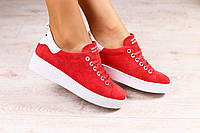 Женские кеды, красные, замшевые, на шнурках
