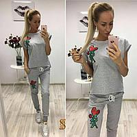 Костюм спортивный женский с вышивкой розы (3 цвета) 728