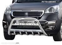 Защитный обвес переднего бампера на Peugeot Partner 2015-...
