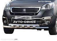 Защитная дуга переднего бампера Peugeot Partner 2015-... двойной ус с грилем