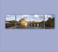"""Модульная картина """"Дворец Ангела (Рим)""""  (1700х500 мм)  [3 модуля]"""
