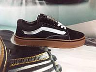 Подростковые кеды Vans Old Skool черные с коричневым