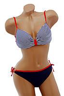 Красивый женский купальник синего цвета в полосочку