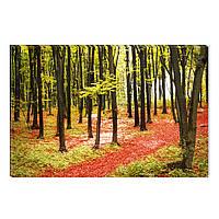 Светящиеся Картины Startonight Красный Лес Утром Природа Пейзаж Печать на Холсте Декор стен Дизайн Интерьер
