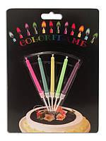 Набор праздничных свечей для торта (5шт) ,горящие разноыветными огоньками