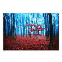 Светящиеся Картины Startonight Красный Туманный Лес Природа Пейзаж Печать на Холсте Декор стен Дизайн Интерьер
