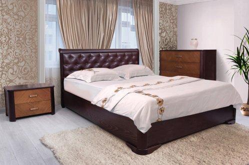 Ліжко 160*200 з підйомним механізмом з дерева в спальню Ассоль ромби  Марія Мікс Меблі