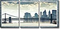 "Модульная картина ""Небоскребы и мост""  (370х820 мм)  [3 модуля]"