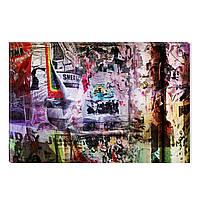Светящиеся Картины Startonight Газетный Коллаж Абстракция Печать на Холсте Декор стен Дизайн Интерьер