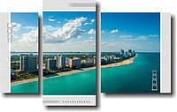"""Модульная картина """"Майами. Побережье""""  (500х800 мм)  [3 модуля]"""