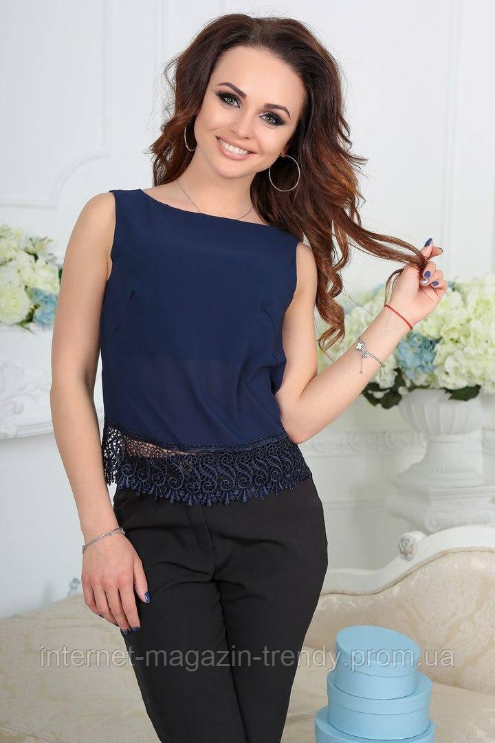 Блуза без рукавов с кружевной вставкой (3 цвета)4033