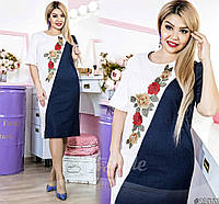 Платье женское с аппликацией в этно стиле