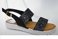 Женские сандалии черное серебро Имитация битого стекла