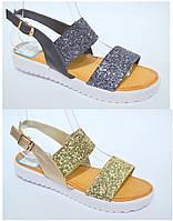 Молодежные сандалии босоножки на низком ходу, тракторная подошва, серебро золото Имитация битого стекла
