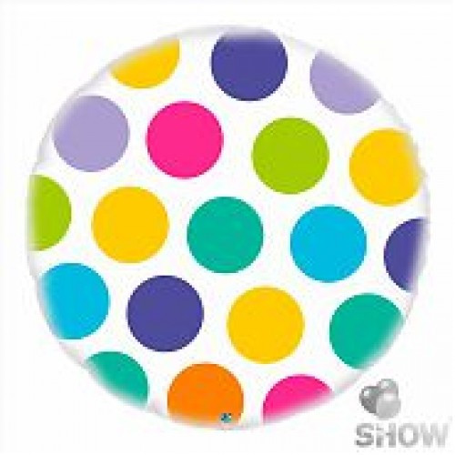Фольгированный шар в горошек круг 46см (гелий)