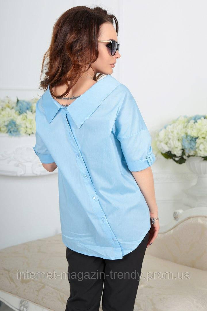 Блуза свободного покроя с коротким рукавом 4059