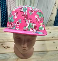 Кепка на девочку розовая малиновая Цветочный принт Розы