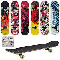 Детский скейт iTrike MS 0355, раз мер 79х20 см, алюминиевая подвеска, цветные PU колеса, 6 видов