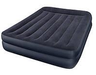 Надувная флокированная кровать 2-х местная Intex 66702 с подголовником со встроенным насосом 220V (203*152*42)