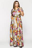 Вечернее платье в пол Алена цветочная VLAVI 46-54 размеры