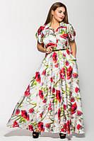 Длинное батальное платье Алена маки VLAVI 46-54 размеры