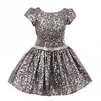 Нарядное короткое искрящееся платье 2-12 лет