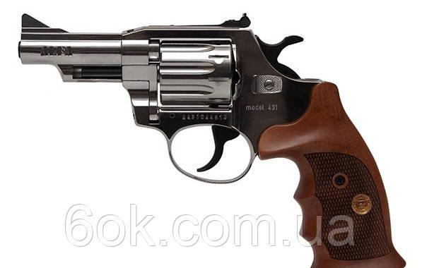 Револьвер под патрон Флобера Alfa 431 никель/дерево