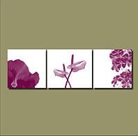 "Модульная картина ""Сиреневые цветы""  (600х1940 мм)  [3 модуля]"
