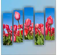 "Модульная картина ""Розовые тюльпаны""  (820х1120 мм)  [5 модулей]"
