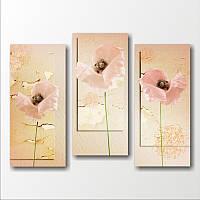 """Картина модульная """"Нежные розовые цветы""""  (600х810 мм)  [3 модуля]"""