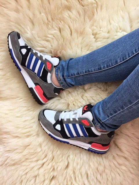 Кроссовки Adidas zx 750 женские серые замшевые (реплика)