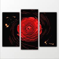 """Модульная картина """"1 красная роза""""  (820х1100 мм)  [3 модуля]"""