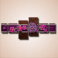 "Модульная картина ""Цветы орхидеи. Полиптих""  (70х175 мм)  [4 модуля]"
