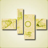 """Картина модульная """"Абстракция """"Зеленая планета""""  (100х146 мм)  [4 модуля]"""