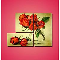"""Модульная картина """"Красные розы в вазе""""  (860х640 мм)  [3 модуля]"""