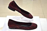 Балетки женские замшевые бордового с чёрными  вставками цвета, итальянские   Minelli
