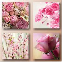 """Мультипанно """"Розовые цветы. Мультипанно""""  (300х1350 мм)  [4 модуля]"""