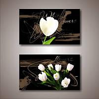 """Мультипанно """"Белые цветы. Тюльпаны""""  (350х1300 мм)  [2 модуля]"""