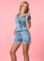 Женский летний комбинезон джинсового цвета. Модель 987.