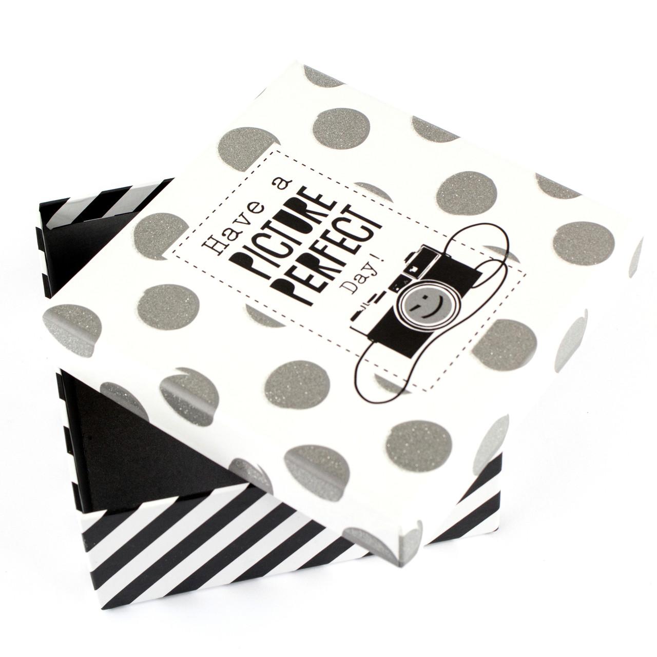Коробка в горошек Фотоаппарат 10.5 x 10.5 x 4.7 см