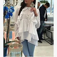 Женская стильная свободная блузка с рюшами. Ткань: хлопок. Размер: ХС-С, М, Л-ХЛ. Цвет: черный, белый, голубой